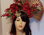 Asian Goddess,Geisha, fascinator, fan and flower headpiece, kimono, photoshoot, fantasy