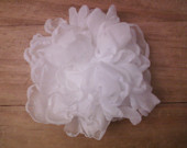 Pure White Bridal Hair Flower, Sash flower, Hairpiece, Fascinator, Also in Ivory or Custom Colors