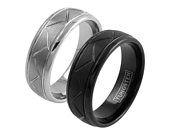 Silver or black Tungsten ring, zigzag grooved