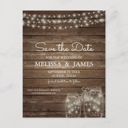 Rustic Wood Mason Jar Lights Save The Date Announcement Postcard
