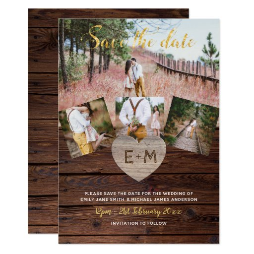 Rustic Wood Engraved Heart PHOTO SAVE THE DATE Invitation