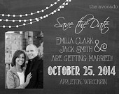 Adorable Chalkboard String Lights Wedding Save the Date