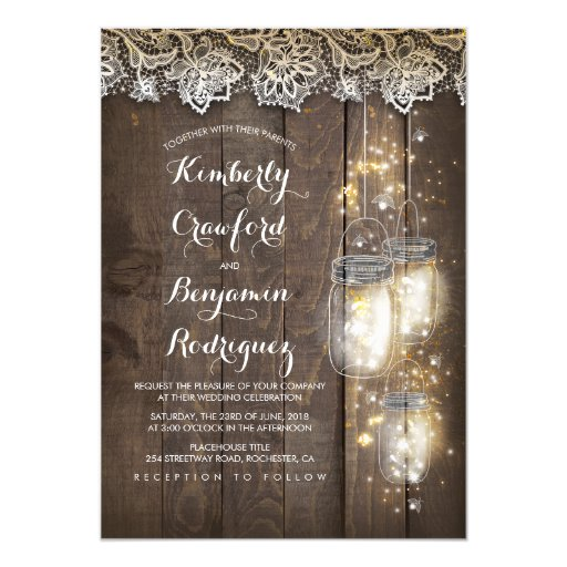 Mason Jar Firefly Lights and Lace Rustic Wedding Invitation