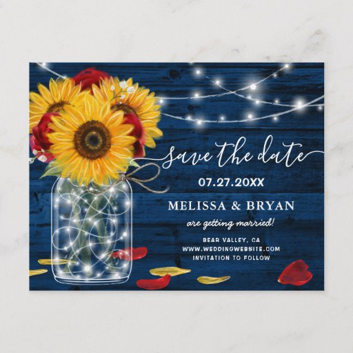 Sunflower Navy Blue Red Rose Rustic Save the Date Announcement Postcard