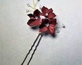 Scarlet / Trio Flower and Glass Beaded Bridal/Wedding Hair Pin
