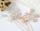 Bridal Hairpin, GOLD Wedding Hair Pins, Boho Hair Accessories, Crystal Flower Hairpins, Pearl Cluster Hair Jewelry, Boho Hair Vine, FARAH