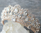 Bridal Tiara Crystal Rose Gold Tiara BELLE Swarovski Bridal Tiara, Crystal Wedding Crown, Rhinestone Tiara, Wedding Tiara, Diamante Crown