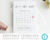 Calendar Save the Date Template Printable save our date invitation Templett modern simple editable invite Calligraphy DIY 06