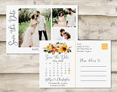 Fall Floral Calendar Save The Date Postcard, Postcard Save the Date, Photograph Save the Date, Save the Date Postcard with Photo, Sunflower