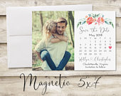5x7 inch Calendar Save The Date Magnet, Magnet Save the Date, Photograph Save the Date, Save the Date with Photo, Floral Save the Date
