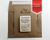 Save the date Calendar magnet with heart around date, wooden save the date magnet, unique invitation or wedding announcement, country rustic