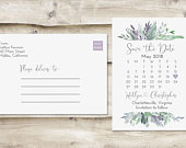 Calendar NonPhoto Save The Date Postcard, Postcard Save the Date, NonPhoto Save the Date, Save the Date Postcard, Wedding Save the Date