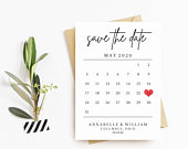 Printable Calendar Save the Date // Wedding Save the Date Template // Rustic Wedding DIY // Instant Download // Editable // Minimalist