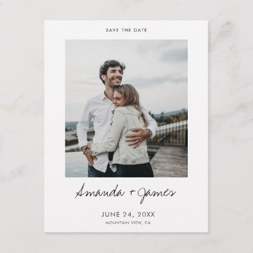Simple Stylish Modern Photo Wedding Save the Date Announcement Postcard