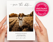 Save The Date Template With Photo, Save The Date Cards, Save The Dates, Save The Date Postcard, Wedding Announcement, Digital Download