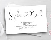 Save The Date Postcard Template, TRY BEFORE You BUY, Printable Wedding Save The Date Cards, Rustic Wedding Announcement, Heart Invitation