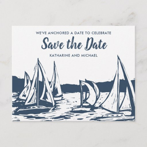Nautical Sailboat Wedding Save the Date Announcement Postcard