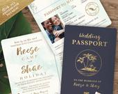 Destination Save the Date Wedding Passport Party Invitation Set in Gold and Aqua Watercolor Tropical see item details to order