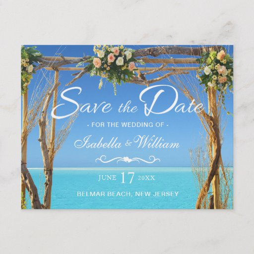 Floral Boho Summer Beach Wedding Save the Date Announcement Postcard