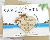 Palm Tree Save The Date Wood Magnet Beach Wedding