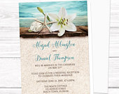 Beach Reception Only Invitations, Lily Seashells Sand Teal tropical reception invites, destination wedding, seaside reception, Printed