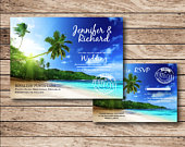 Beach Wedding Invitation, tropical invitation, destination wedding, wedding set, wedding RSVP
