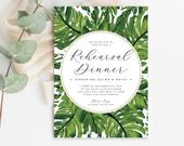 INSTANT DOWNLOAD Rehearsal Dinner Invitations, Tropical Wedding, Editable Template, Monstera Palm, Banana Leaf, Beach Wedding, Printable DIY
