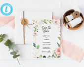 Blush Save The Date, Editable Template, Floral, Elegant, Instant Download, Wedding, Save The Date Invite, Printable Template, STD 01
