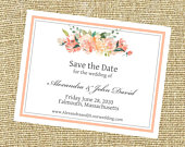 Peach Floral Save the date, Formal elegant Save the Date, Wedding Save the Date, Rose, Peony