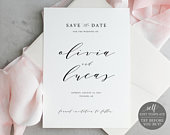 Save the Date Template, Elegant Script, 100% Editable Instant Download, TRY BEFORE You BUY