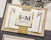 Champagne Wedding Invitations, Gold Foil Invitation, Elegant Invites for Formal Event, Glitter Party Set Classic Romance FP2Lv1 SAMPLE