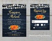 Elegant Rustic Navy Floral Fall Wedding Invitation,Orange Rose,Gold Calligraphy,Barn Wood,Fairy Lights,Gold Print,Shimmer,Printed Invitation