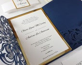 Laser Cut Wedding Invitations, Elegant Navy and Gold Foil Invitation Suite, Lasercut Pocket Invites, Luxury Invitations Set