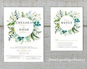 Elegant Greenery Wedding Invitations,Eucalyptus,Green Leaves,Wreath,Calligraphy,Gold Print,Shimmery,Printed Invitation,Wedding Set