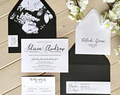 Black and White Wedding Invitations, Black and White Floral Wedding Invitations, Elegant Black and White Wedding Invitations, Modern Wedding