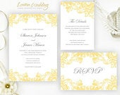 PRINTED Personalized yellow wedding Invitations Elegant lace invitation set, cheap wedding invites