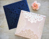 DIY Square Laser Cut 4 flap Invitation Laser Cut Wedding Invitations Elegant Invitations Lace Paper Invites More Colors Available