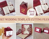 Set Cricut Wedding lace template paper cutting files: invitation Tri Fold, Gate Fold / box / escort cards / Table Numbers / Svg Dxf Ai Cdr