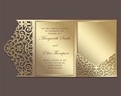Tri Fold 5x7 Wedding Invitation Pocket Envelope SVG Template, ornamental lace design, laser cut file, Silhouette Cameo, Cricut