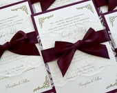 JENNIFER Burgundy and Ivory Lace Wedding Invitation Ivory Lace Belly Band with Burgundy Ribbon Bow Elegant and Classic Wedding Invite