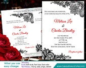 DiY Printable Wedding Invitation Template Instant Download EDITABLE TEXT Black Red Rustic Burlap lace 5x7 Microsoft Word HBC1
