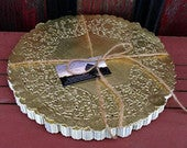 30 12 Gold Doily Wedding Charger Metalic Lace Doily Paper doilies Round Doilies Invitation Trim Wedding Trim Placemat