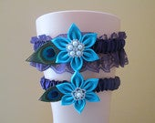 Ultra Violet Turquoise Wedding Garter Set, Peacock Garter, Purple Plum Lace Bridal Garter withTeal Kanzashi Flower, Something Blue