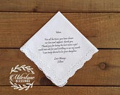 Mother of the Bride Personalized Wedding Handkerchiefs Mom Gift Crochet Custom Printed Mom Wedding Gift Favor Lace Gift Personal Messsage