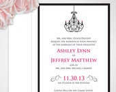 Chandelier Wedding Invitation Pink and Black Wedding Invite Custom Colors Available Chandelier Invite Stylish, Romantic, Vintage