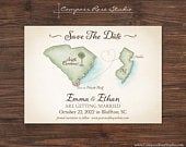 Vintage Wedding Map, Watercolor Wedding Map Invitation, Destination Wedding, Elopement Announcement Reception, Any Location, Deposit