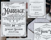 Vintage Wedding Invitation Suite, Printable, Editable Template, Instant Download!