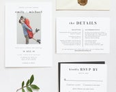 Jana Photo Wedding Invitation Template Suite, Minimalist Picture Wedding Invitation Set, Modern Wedding Invitations Printable Templett