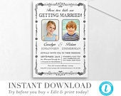 Old School Photos Wedding Invitation Template INSTANT DOWNLOAD DIY Editable Printable Wedding Set Templett Try before you buy!