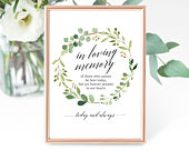 Greenery Wedding In Loving Memory Sign Template, Wedding Memorial Sign, Printable In Memory Sign Template, PDF Instant Download, MM071